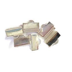 5 griffes de serrage / embouts en métal argenté 10x10mm