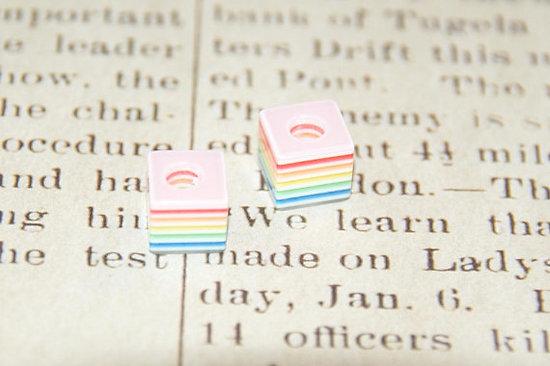 4 perles rayées multicolores en acrylique pour pandora 10x10x8mm