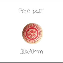 Grosse perle palet rouge et beige en acrylique 20x10mm