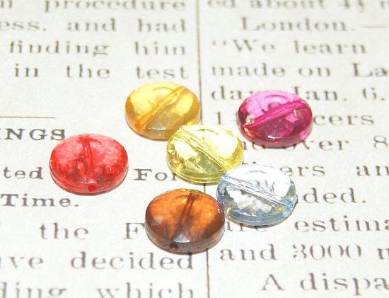 Assortiment de 6 perles palets à facettes en acrylique 14x7mm