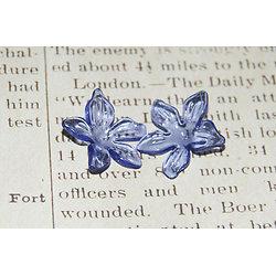 Grande fleur ouverte bleu pervenche en acrylique 29x12mm