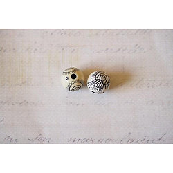 3 perles rondes en acrylique beige à l'effigie de Bouddha 11mm