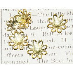 10 coupelles fines fleur en métal doré 22mm