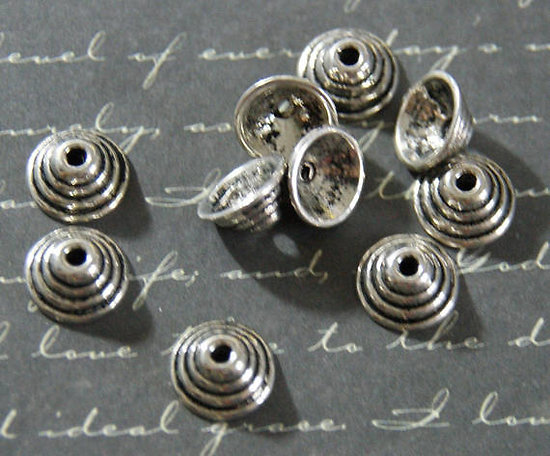 10 coupelles cônes en métal argenté 5x10mm