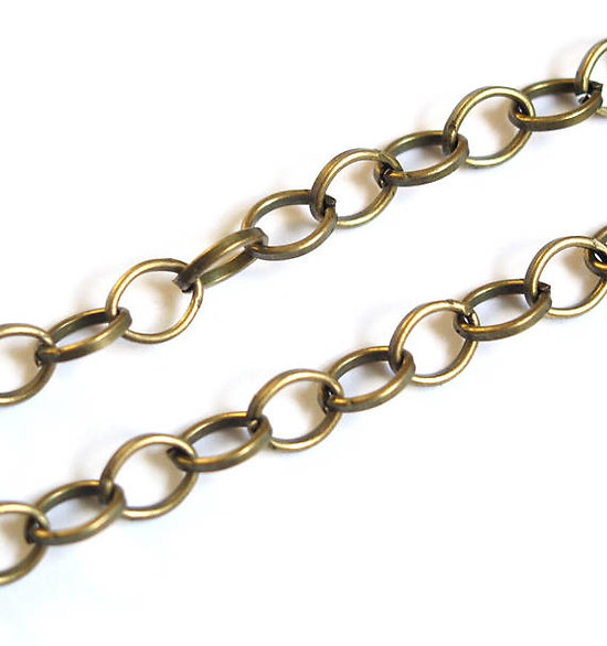 50cm de chaîne à larges maillons ovales en métal couleur bronze 7x6mm