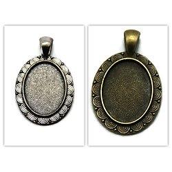 Support de pendentif cabochon ovale en métal 41x25mm