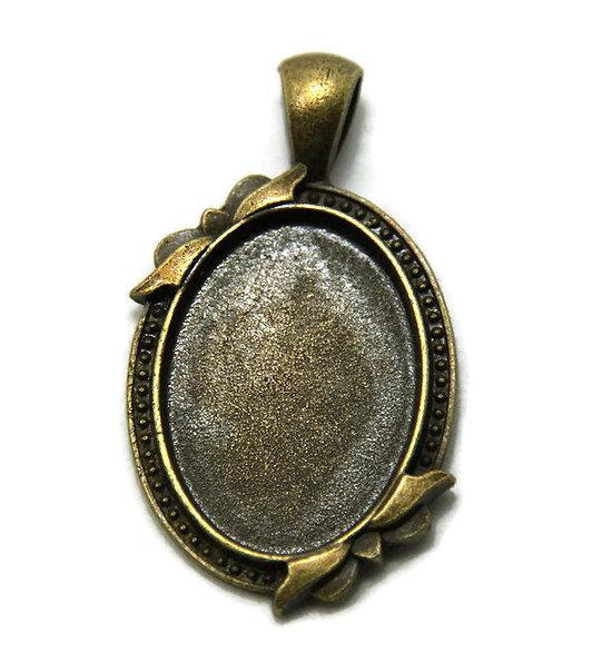 Support de pendentif cabochon ovale en métal couleur bronze 42x24mm