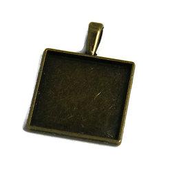 Support de pendentif pour cabochon carré en métal couleur bronze 27x39mm