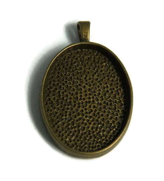 Support de pendentif pour cabochon ovale en métal couleur bronze 25x40mm