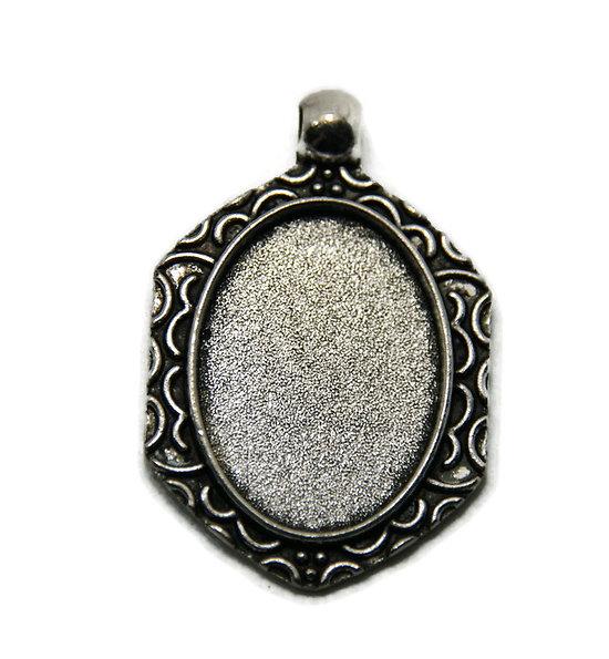 Support de pendentif pour cabochon ovale en métal argenté 39x25mm