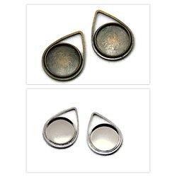 Support de pendentif goutte pour cabochon rond 21x15mm + dôme de verre
