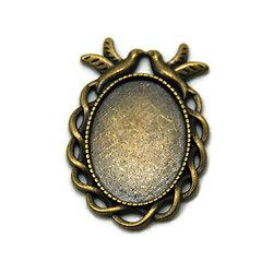 Support de pendentif colombes pour cabochon ovale en métal couleur bronze 27x38mm