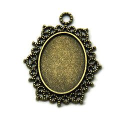 Support de pendentif pour cabochon ovale en métal couleur bronze 40x32mm