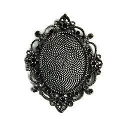 Très grand support de pendentif pour cabochon ovale en métal argenté  67x54mm
