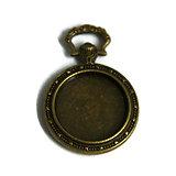 Support de pendentif montre à gousset pour cabochon rond 20mm en métal couleur bronze + dôme en verre