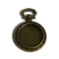 Support de pendentif montre à gousset pour cabochon rond 20mm en métal couleur bronze