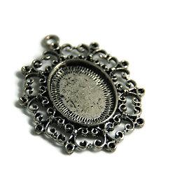 Support de pendentif pour cabochon ovale en métal argenté 47x37mm