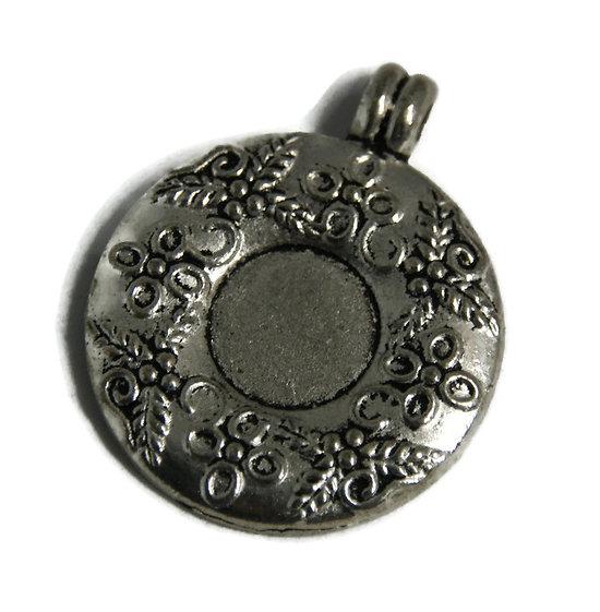 Support de pendentif pour cabochon rond en métal argenté 35x44mm