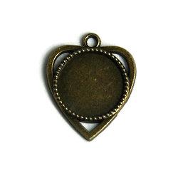 Support de pendentif coeur pour cabochon rond en métal couleur bronze  25x30mm