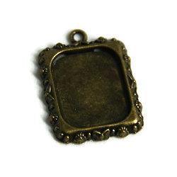 Support de pendentif pour cabochon rectangulaire en métal couleur bronze  18x25mm