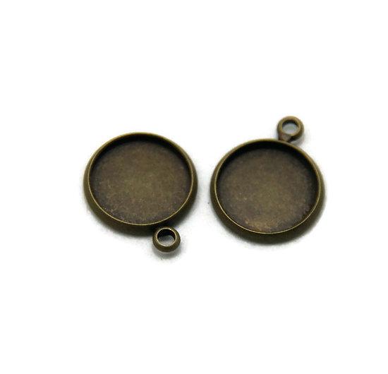4 supports pour cabochon rond en métal couleur bronze 17x14mm