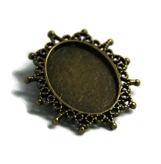 Support de broche pour cabochon ovale en métal couleur bronze 38x31mm