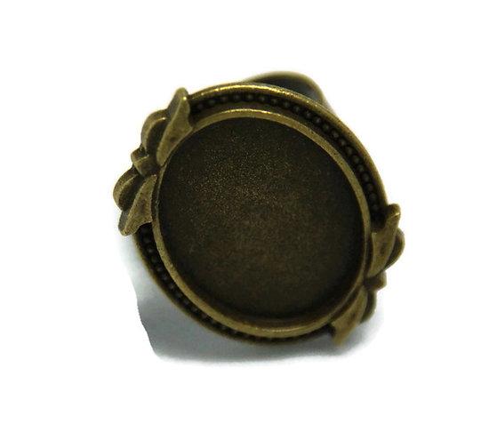 Support de bague pour cabochon ovale en métal couleur bronze 33x24mm