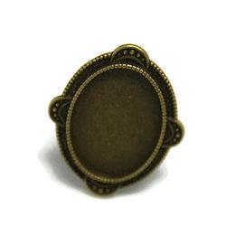 Support de bague pour cabochon ovale en métal couleur bronze 35x28mm