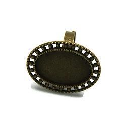 Support de bague pour cabochon ovale en métal couleur bronze 33x26mm
