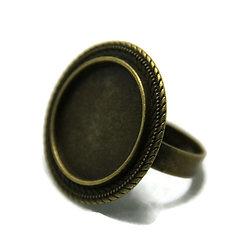 Support de bague pour cabochon rond en métal couleur bronze 28mm