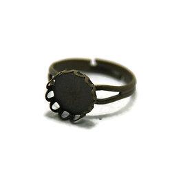Support de bague pour cabochon rond en métal couleur bronze 11mm - anneau double