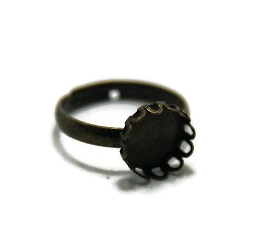 Support de bague pour cabochon rond en métal couleur bronze 11mm - anneau plein