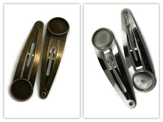 2 supports de barrette clip pour cabochon rond 14x52mm