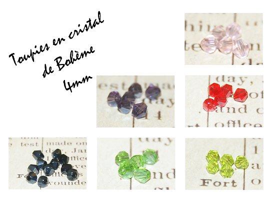 10 perles toupies en cristal de Bohème 4mm