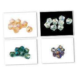 6 perles tournées en cristal de Bohème - couleurs AB / 7mm