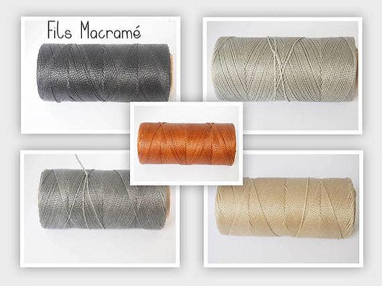 Fil polyester enduit ciré, véritable fil pour macramé 1mm - 5 couleurs au choix, vendu par 2 mètres