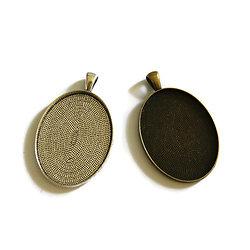Grand support de pendentif simple et massif pour cabochon ovale 30x40mm