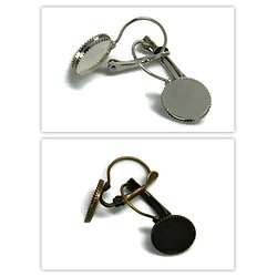 2 supports de boucles d'oreille dentelle pour cabochons ronds 12mm