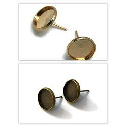 2 supports de boucles d'oreille clous pour cabochons ronds 12mm