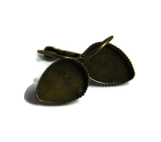 2 supports de boucles d'oreille dormeuses pour cabochons goutte 14x10mm
