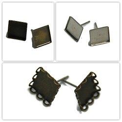 2 supports de boucles d'oreille clous pour cabochons carrés 10mm