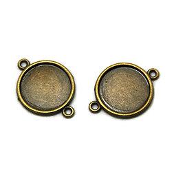 2 connecteurs pour cabochons ronds en métal couleur bronze