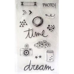 Tampons silicone thème photo - planche de 14 unités
