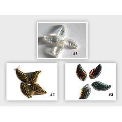 2 perles feuille en cristal de Bohème 18x8x5mm