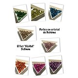 15 perles à facettes en cristal de Bohème - effet glam / transparent 5x6mm