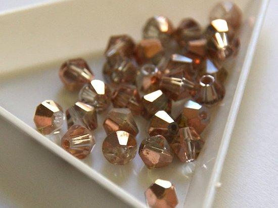 10 perles toupies bicolores en cristal de Bohème transparent / or rosé 6mm