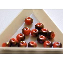 10 perles rondelles bicolores en cristal de Bohème corail / bronze 8x5.5mm