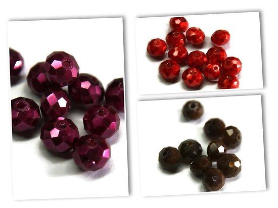 10 perles à facettes en cristal de Bohème - finition peinte 8X6mm