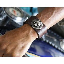 Bracelet manchette large en cuir pour biker Harley Dav.
