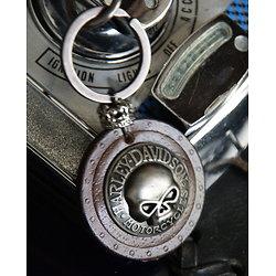 Porte-clef cuir Harley Dav. - modèle skull